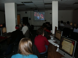 Here is our class watching the big show